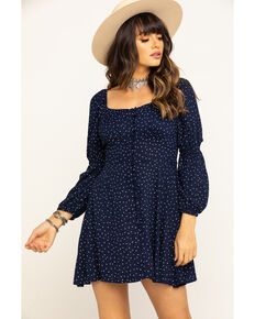 Angie Women's Navy Polka Dot Button Smock Back Dress, Navy, hi-res