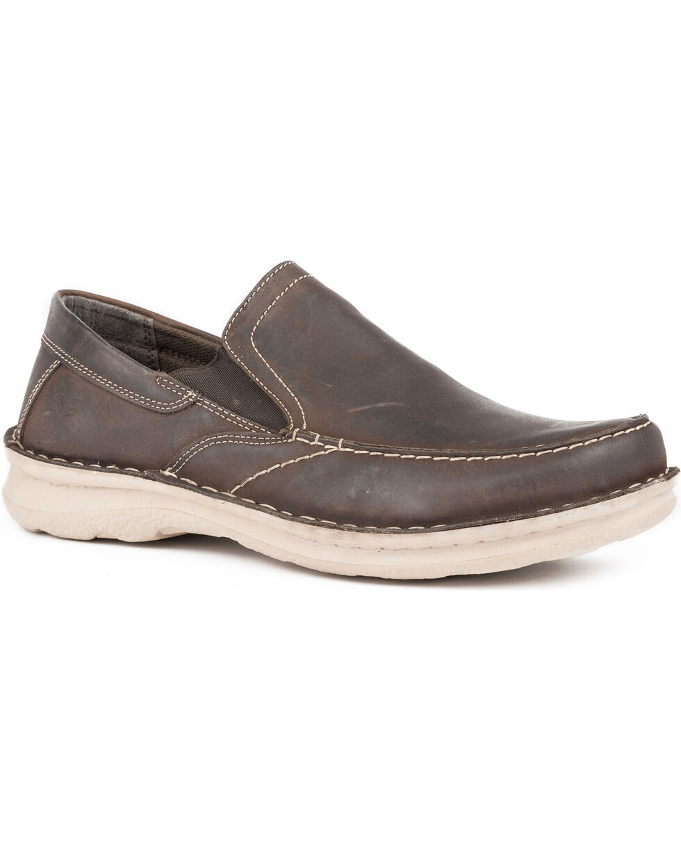 Roper Men's Will Dark Oiled Leather Slip On Casual Shoes - Moc Toe, Brown, hi-res