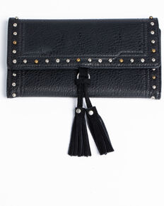 Shyanne Women's Suede Tassel Flap Wallet, Black, hi-res