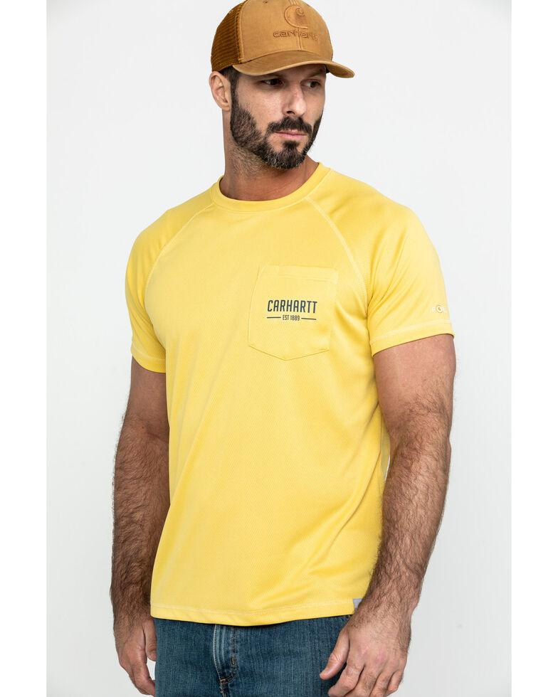 e58d356c Zoomed Image Carhartt Men's Yellow Force Birdseye Graphic Short Sleeve Work  T-Shirt, Yellow, hi