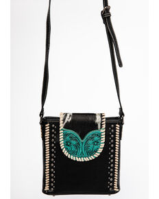 Montana West Trinity Ranch Women's Tooled Hair-On Crossbody Bag, Black, hi-res