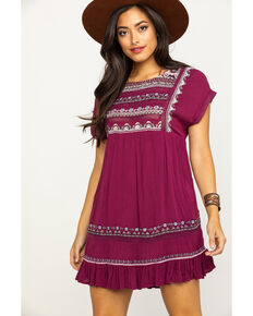Free People Women's Sunrise Wanderer Mini Dress, Magenta, hi-res