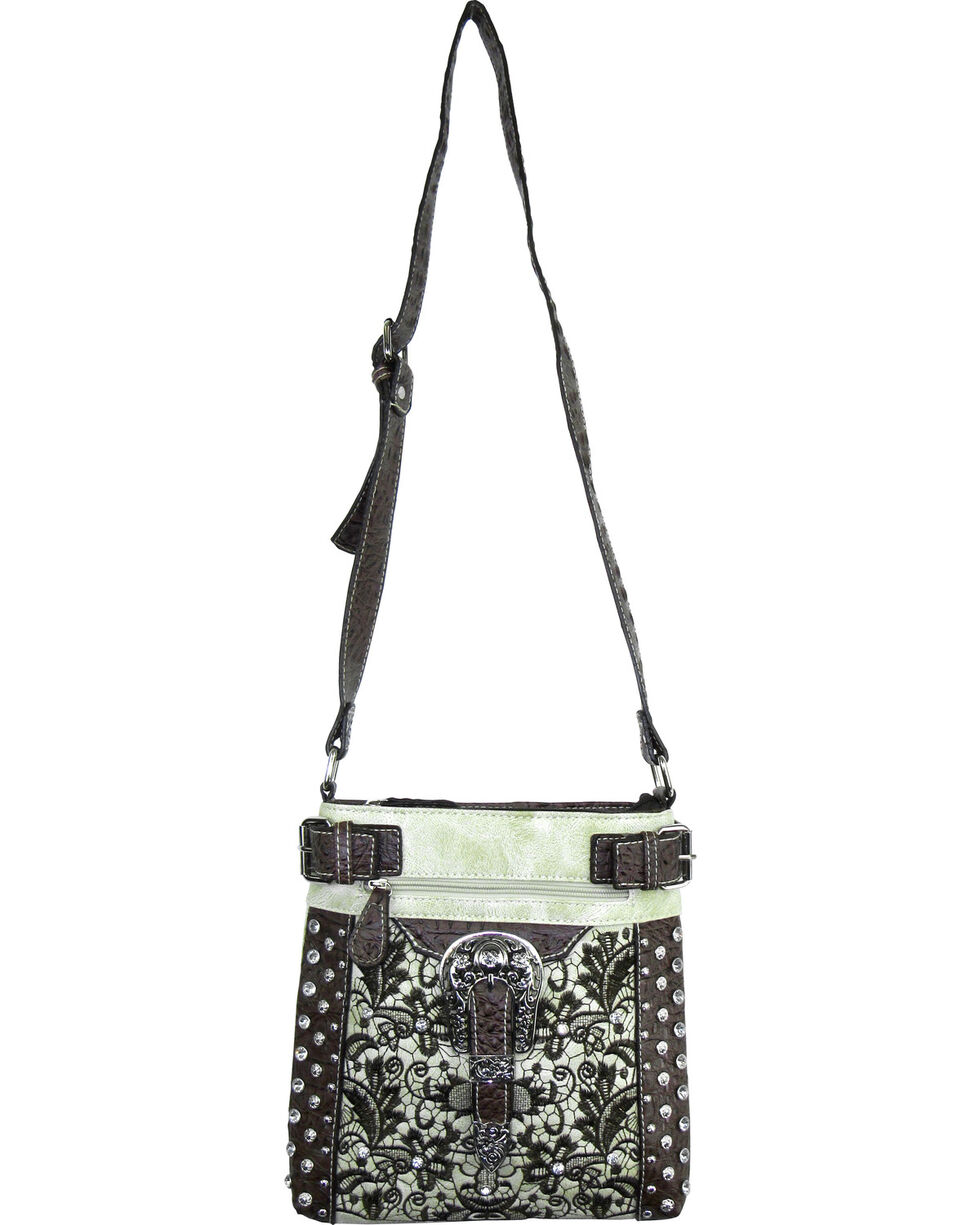 Savana Ivory Lace Embroidered Crossbody , Ivory, hi-res
