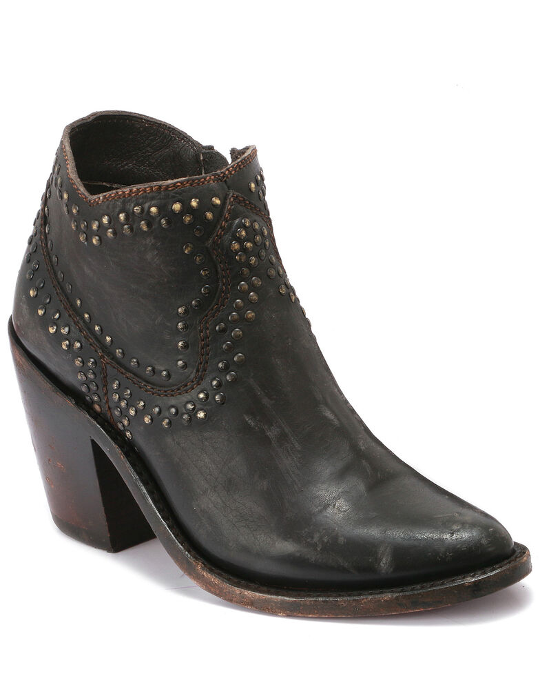 Liberty Black Women's Black Studded Fashion Booties - Round Toe, Black, hi-res