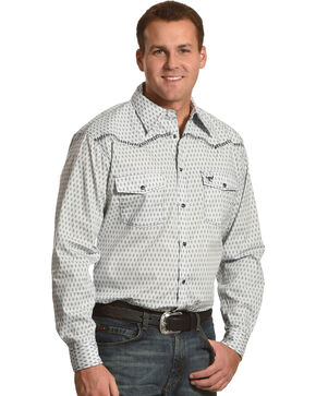 Cowboy Hardware Men's White Dashed Diamond Print Long Sleeve Shirt, White, hi-res