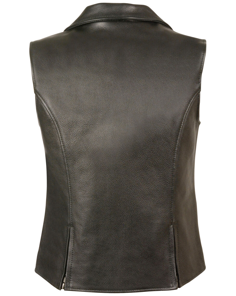 Milwaukee Leather Women's Lapel Collar Long Zipper Front Vest, Black, hi-res