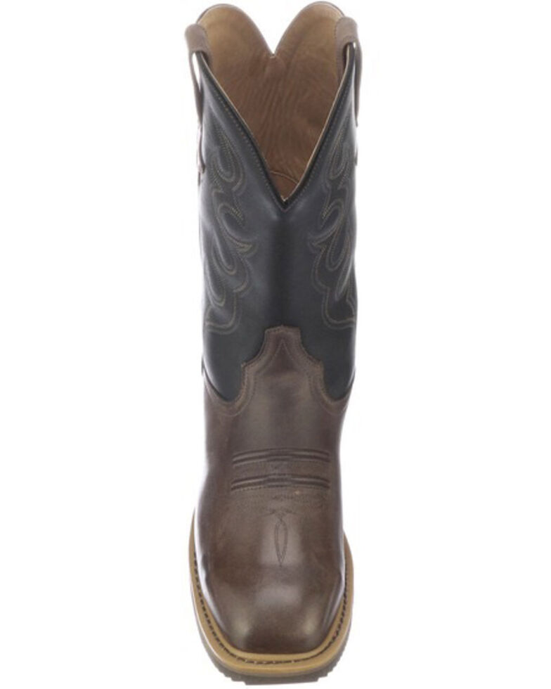 Lucchese Men's Welted Western Work Boots - Steel Toe, Black/brown, hi-res