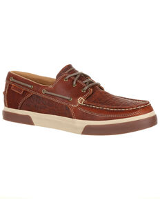 Durango Men's Music City Faux Elephant Boat Shoes - Moc Toe, Brown, hi-res