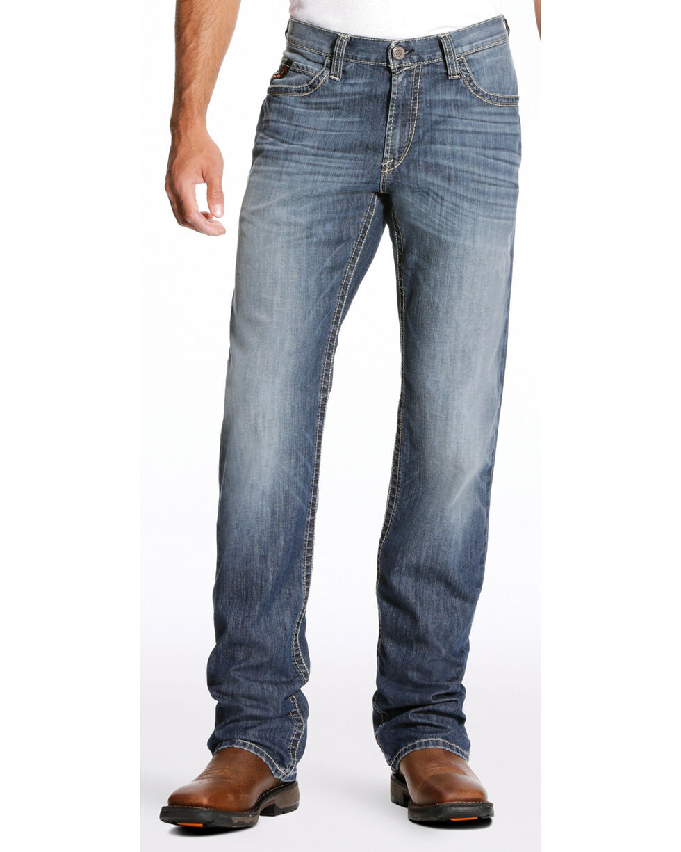 Ariat Men's FR M4 Inherent Boundary Low Rise Jeans - Boot Cut, Blue, hi-res