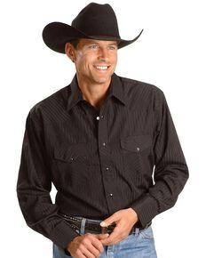 Wrangler Men's Western Silver Edition Shirts, Black, hi-res