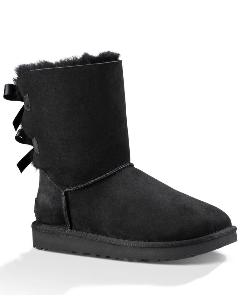 UGG Women's Bailey Bow II Slipper Boots - Round Toe, Black, hi-res