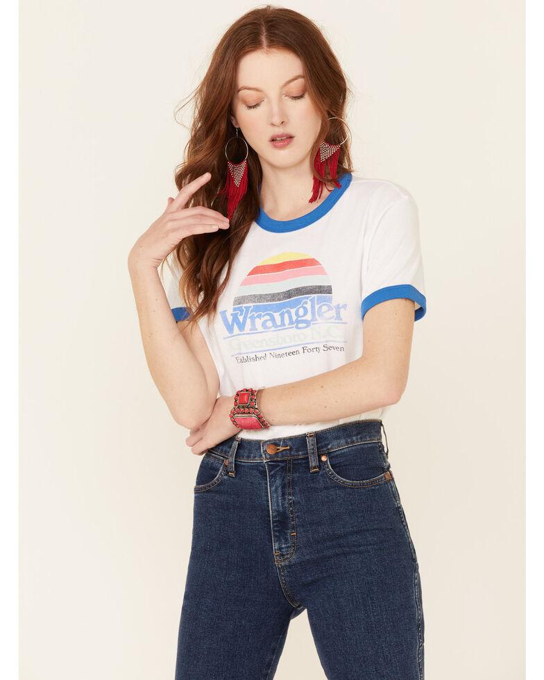 Wrangler Modern Women's Blue Vintage Logo Short Sleeve Ringer Tee , White, hi-res