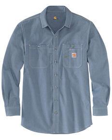 Carhartt Men's FR Force LW Performance Woven Long Sleeve Work Shirt , Steel Blue, hi-res