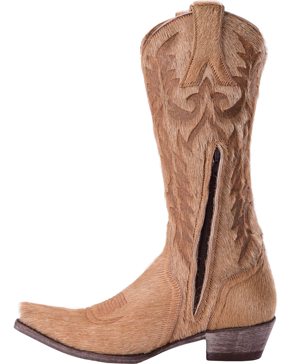 Old Gringo Women's Mayra Bone Hair On Laser Stitch Cowgirl Boots - Snip Toe, Beige/khaki, hi-res