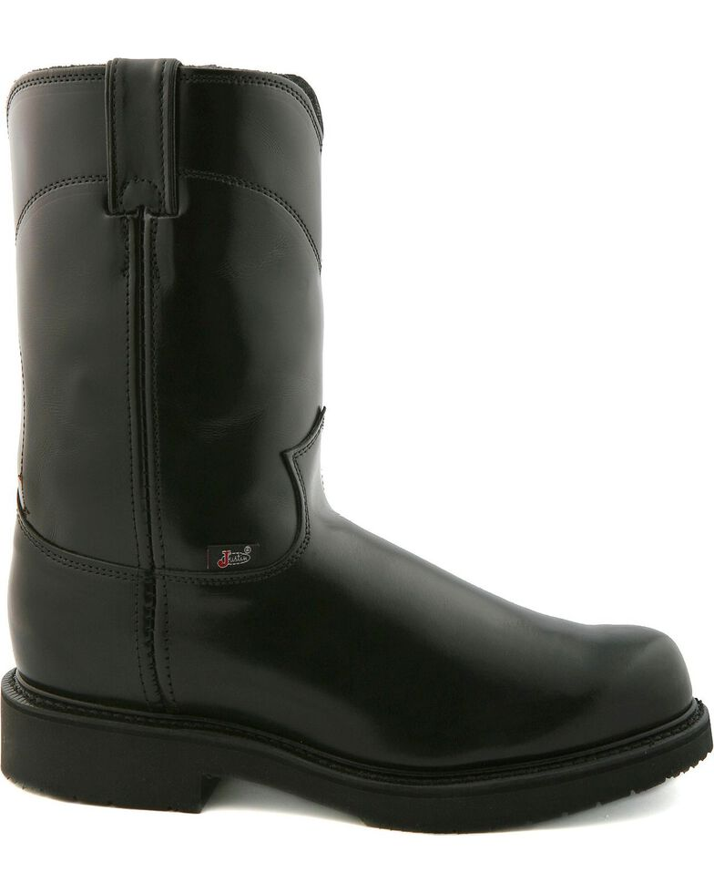 "Justin Boots Men's Pull On 10"" Work Boots, Black, hi-res"