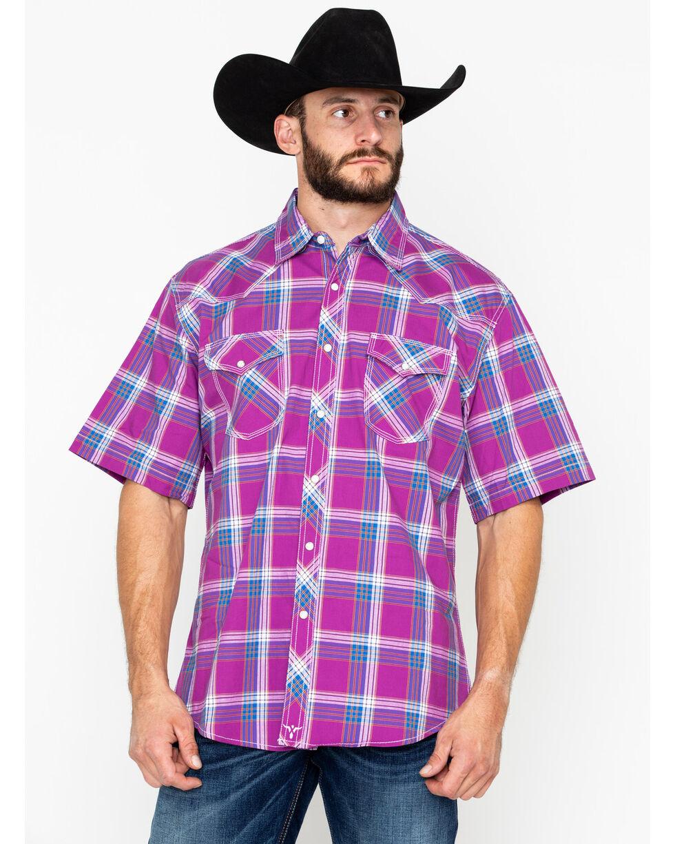 Wrangler 20X Men's Berry Plaid Short Sleeve Western Shirt, Red, hi-res