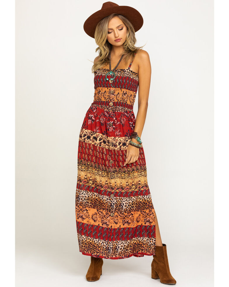 Angie Women's Mixed Print Smocked Bodice Maxi Dress, Rust Copper, hi-res