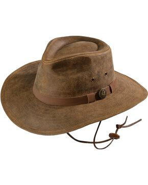 Outback Unisex Leather Kodiak Hat, Brown, hi-res