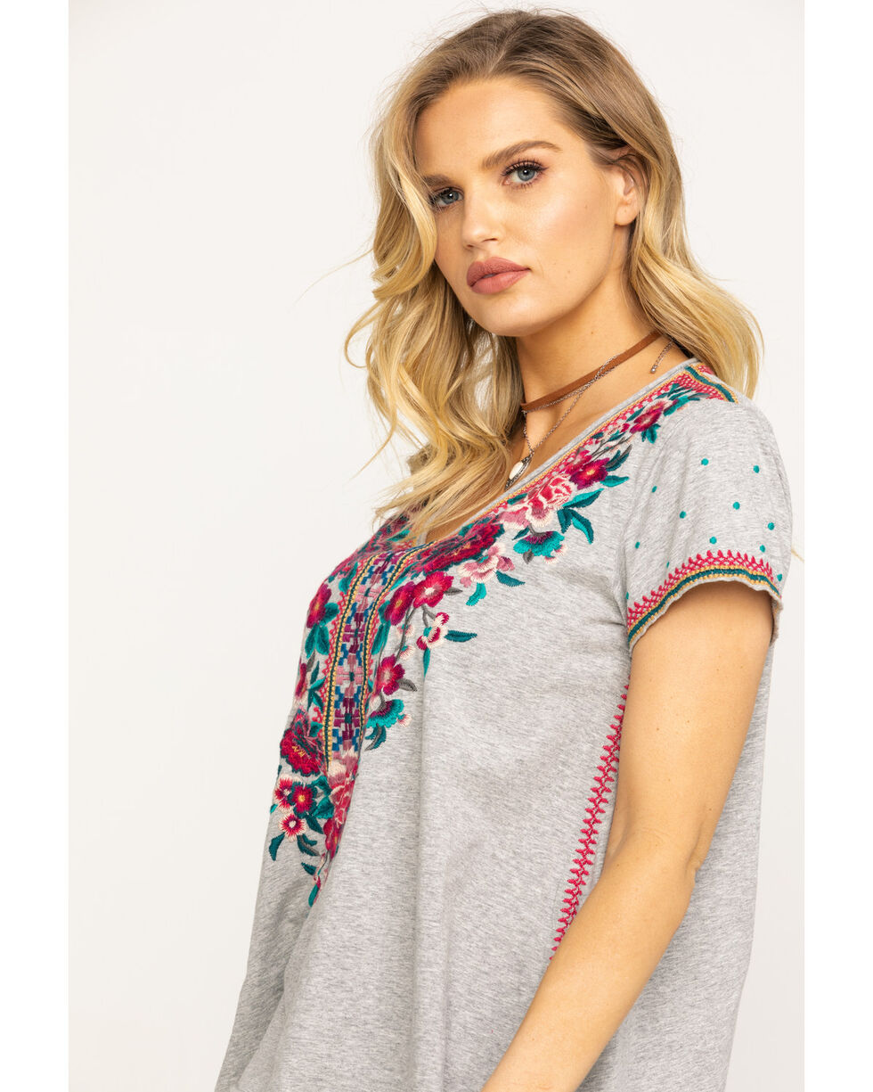 Johnny Was Women's Annaliese Drape Top, Heather Grey, hi-res