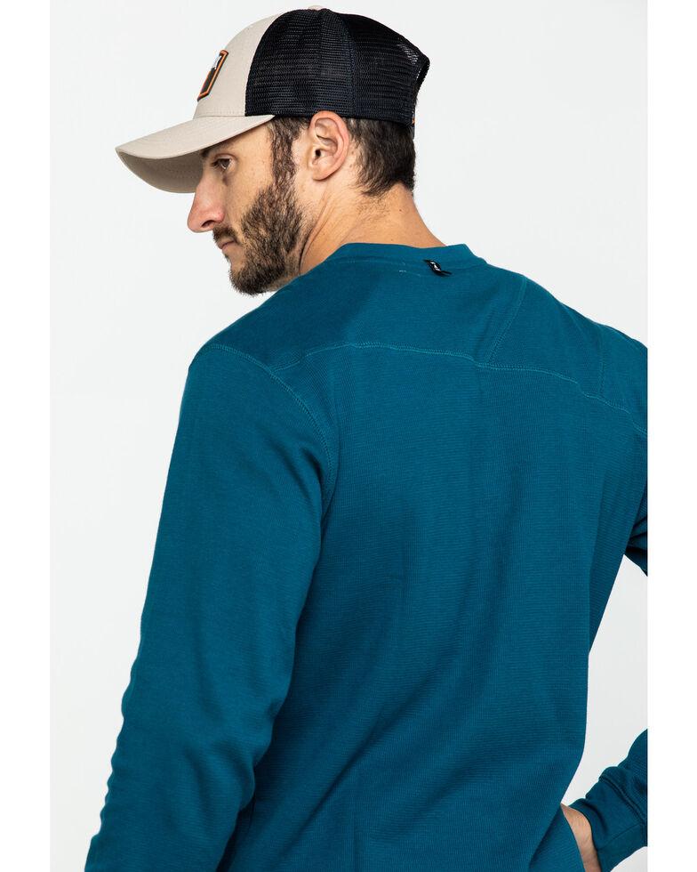 Hawx Men's Blue Thermal Henley Long Sleeve Work Shirt - Tall , Blue, hi-res