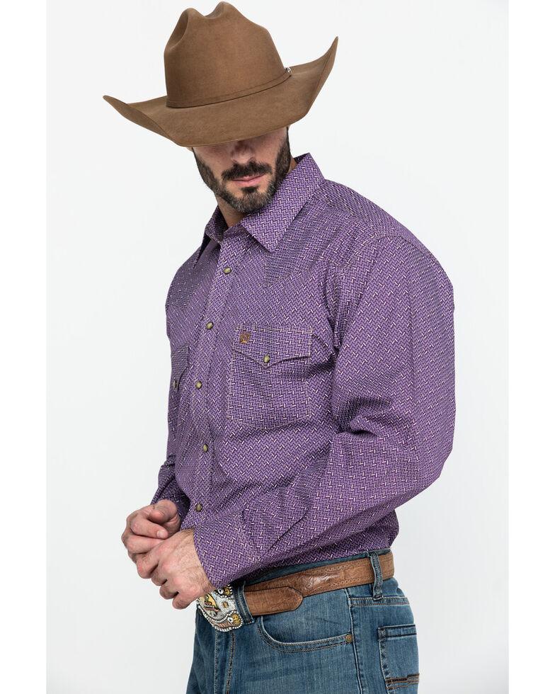 Cinch Men's Purple Small Geo Print Snap Long Sleeve Western Shirt , Purple, hi-res