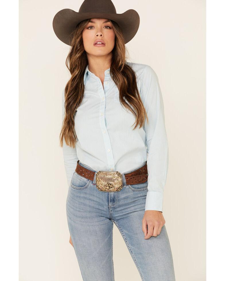 Ariat Women's Light Blue Kirby Stretch Long Sleeve Western Shirt , Blue, hi-res