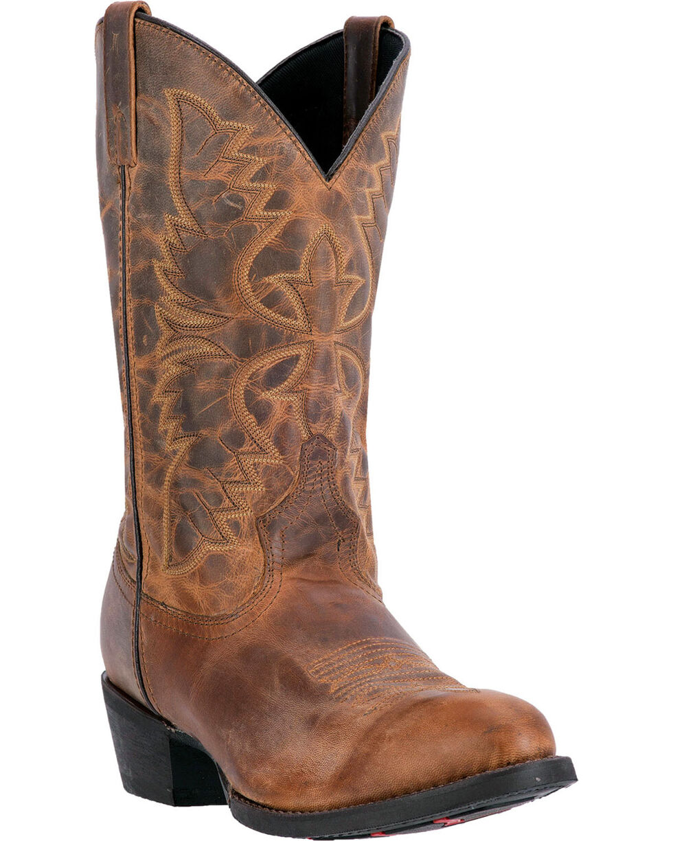 Laredo Men's Embroidered Round Toe Western Boots, Tan, hi-res