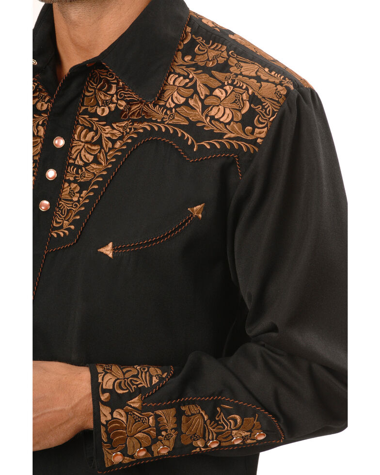 Scully Men's Copper Embroidered Gunfighter Shirt - Big, Black, hi-res