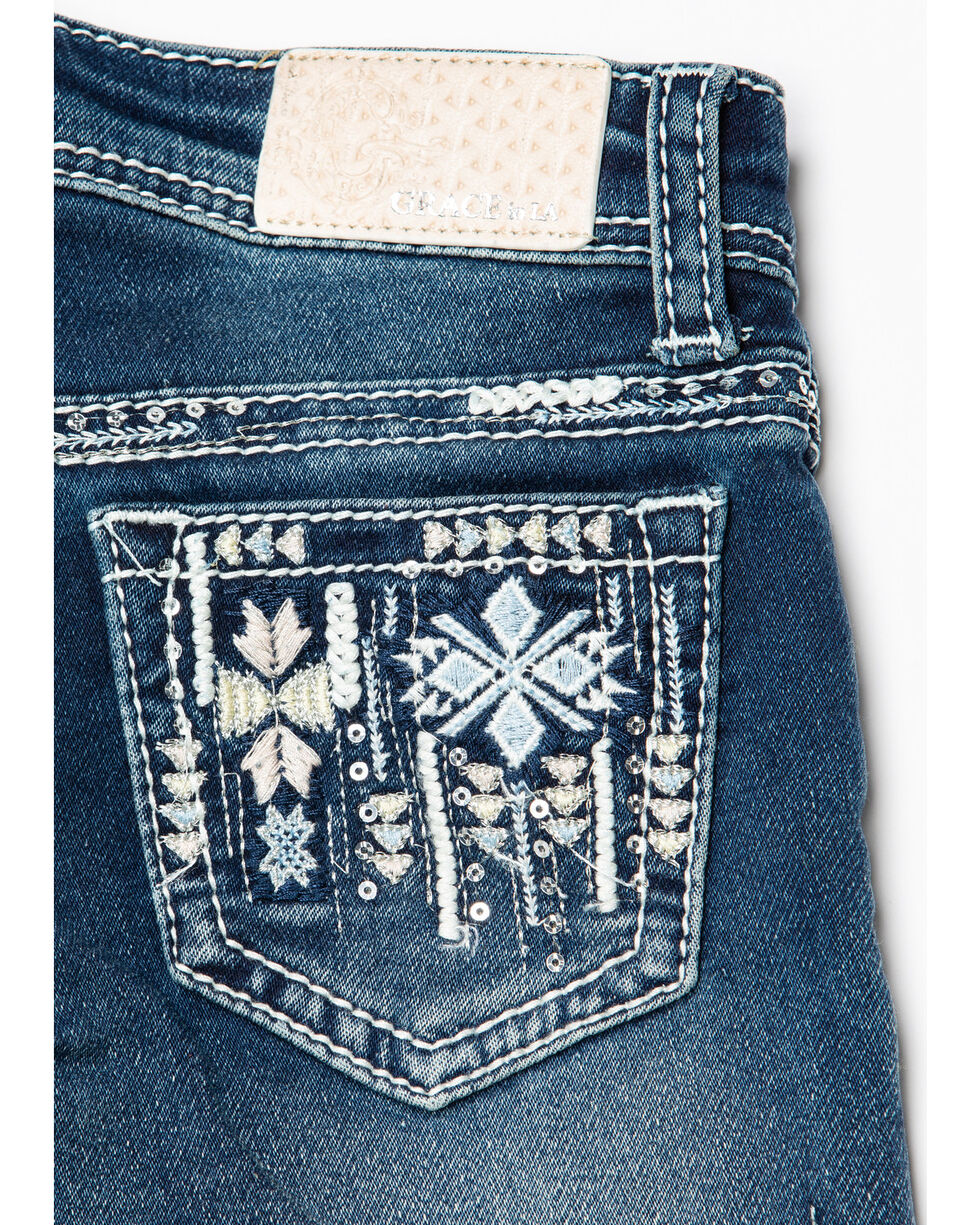 Grace in LA Girls' Aztec Bootcut Jeans, Blue, hi-res