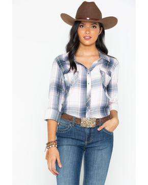Ely Cattleman Women's Plaid Boyfriend Shirt, Grey, hi-res