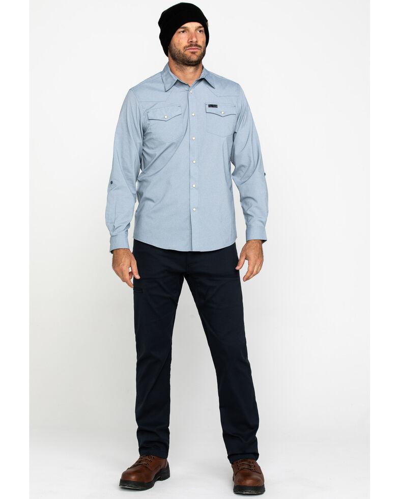 ATG By Wrangler Men's Bering Sea Solid Long Sleeve Western Shirt , Blue, hi-res