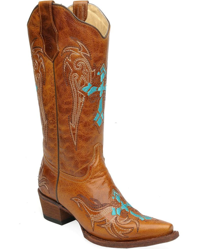 Circle G Women's Turquoise Cross Embroidered Western Boots, Cognac, hi-res