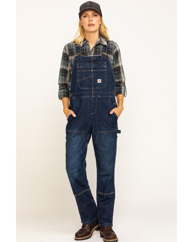 Carhartt Women's Denim Double Front Bib Overalls, Dark Blue, hi-res