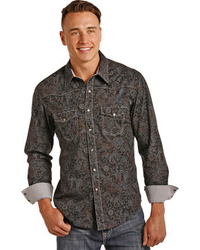 Rock & Roll Cowboy Men's Grey Paisley Print Shirt , Grey, hi-res