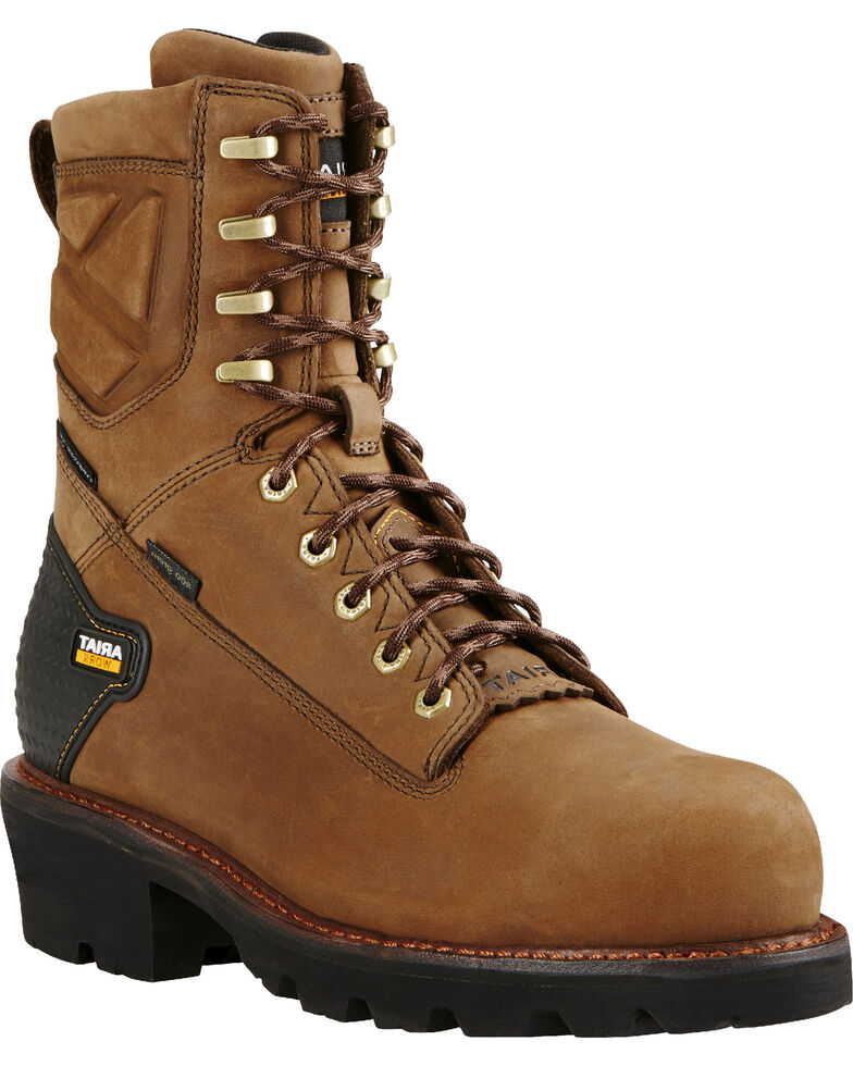 Ariat Men's H2O Powerline 400g Comp Toe Work Boots, Brown, hi-res