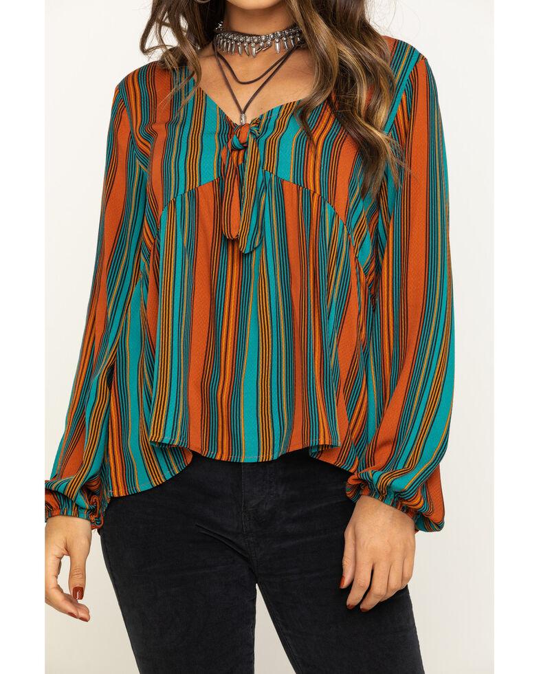 Eyeshadow Women's Stripe Tie Front Peasant Top, Rust Copper, hi-res