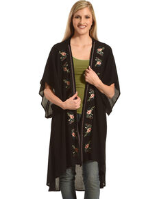 Polagram Women's Floral Embroidered Kimono, Black, hi-res