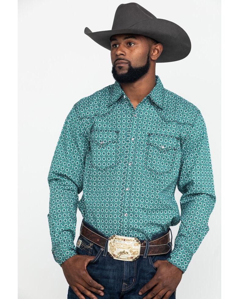 Wrangler 20X Men's Advanced Comfort Green Poplin Geo Print Long Sleeve Western Shirt , Green, hi-res
