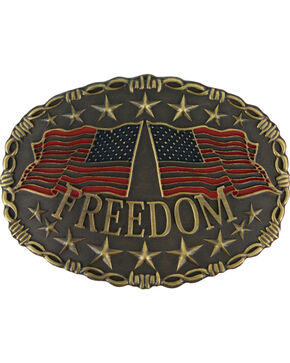 Cody James®  Men's Freedom Belt Buckle, Silver, hi-res