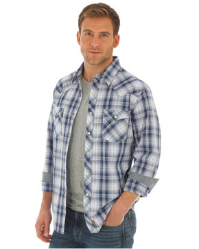 Wrangler Retro Men's Blue Plaid Long Sleeve Shirt - Tall , Blue/white, hi-res