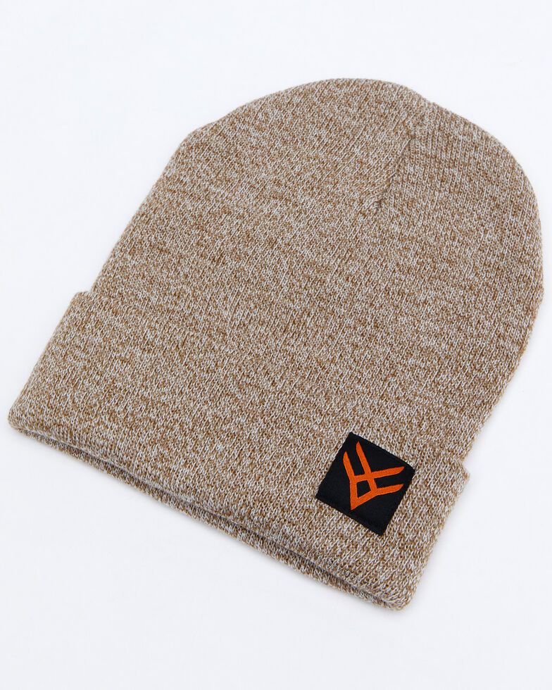 Hawx® Men's Heather Brown Logo Patch Beanie , Lt Brown, hi-res