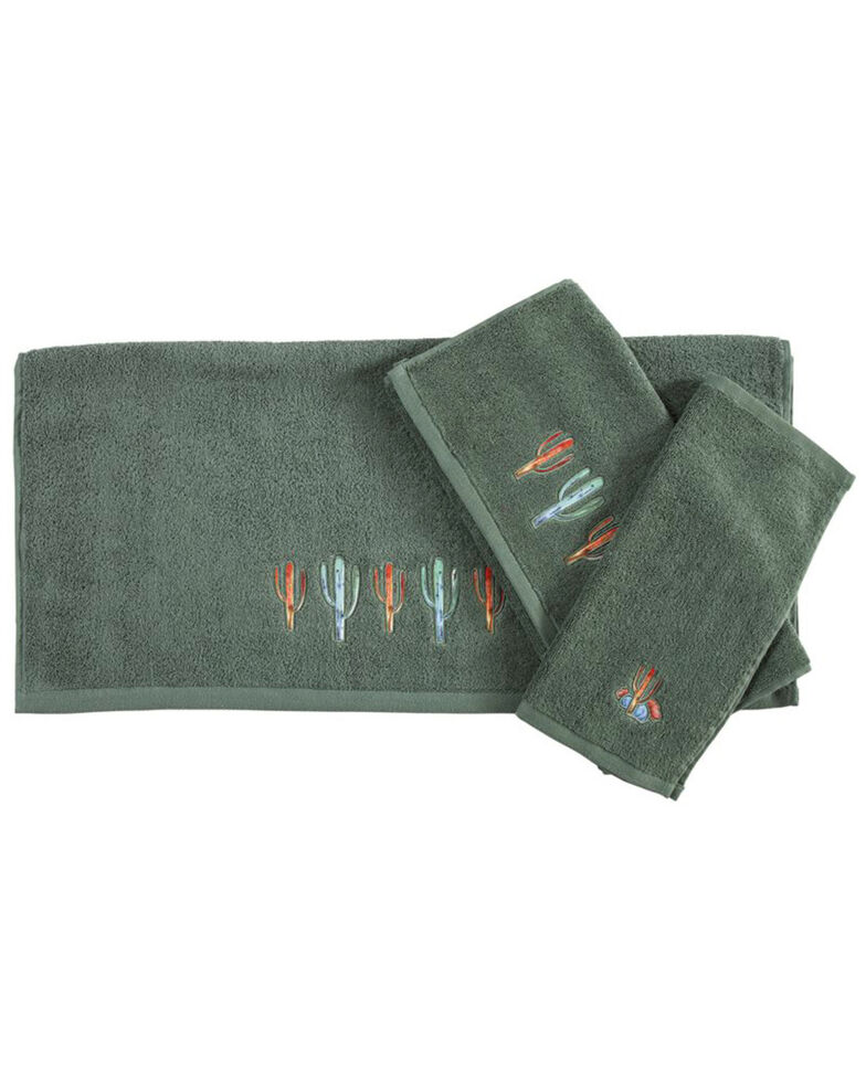 HiEnd Accents Embroidered Cactus Towels - 3 Pieces , Turquoise, hi-res