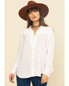Ariat Women's Ivory Tribal Talk Long Sleeve Shirt, Ivory, hi-res