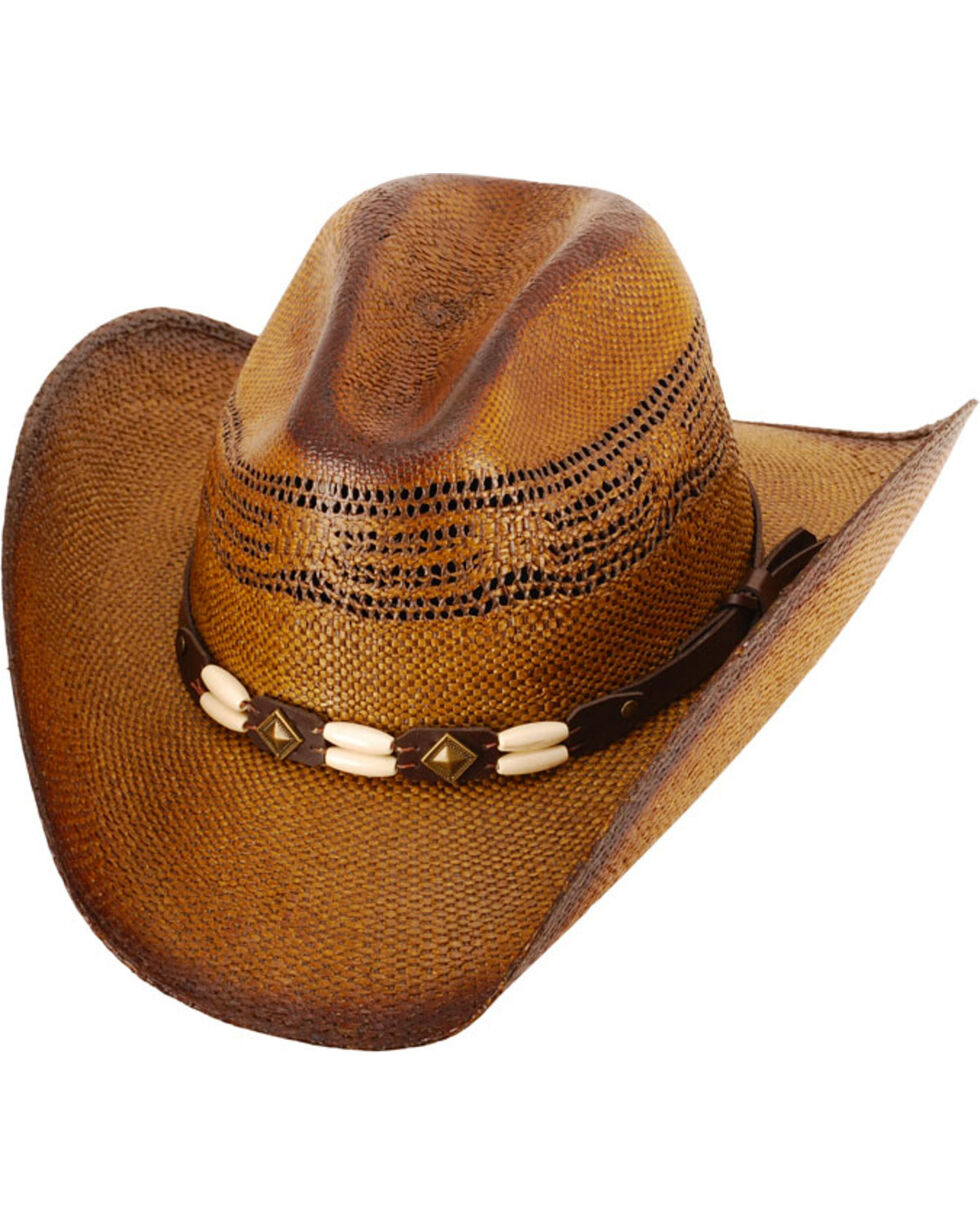 Western Express Brown Brockway Straw Cowboy Hat , Dark Brown, hi-res