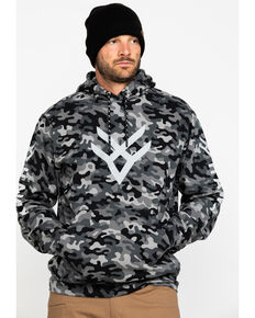 Hawx® Men's Black Camo Reflective Logo Performance Hooded Work Sweatshirt , Black, hi-res