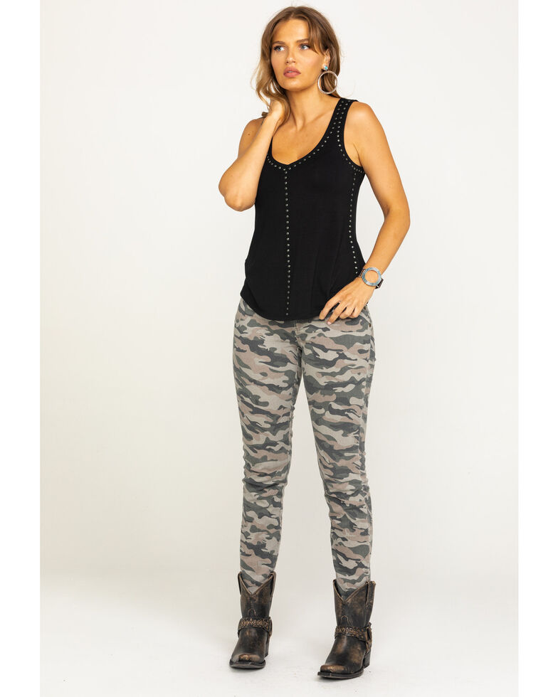 Idyllwind Women's On The Edge Studded Top, Black, hi-res