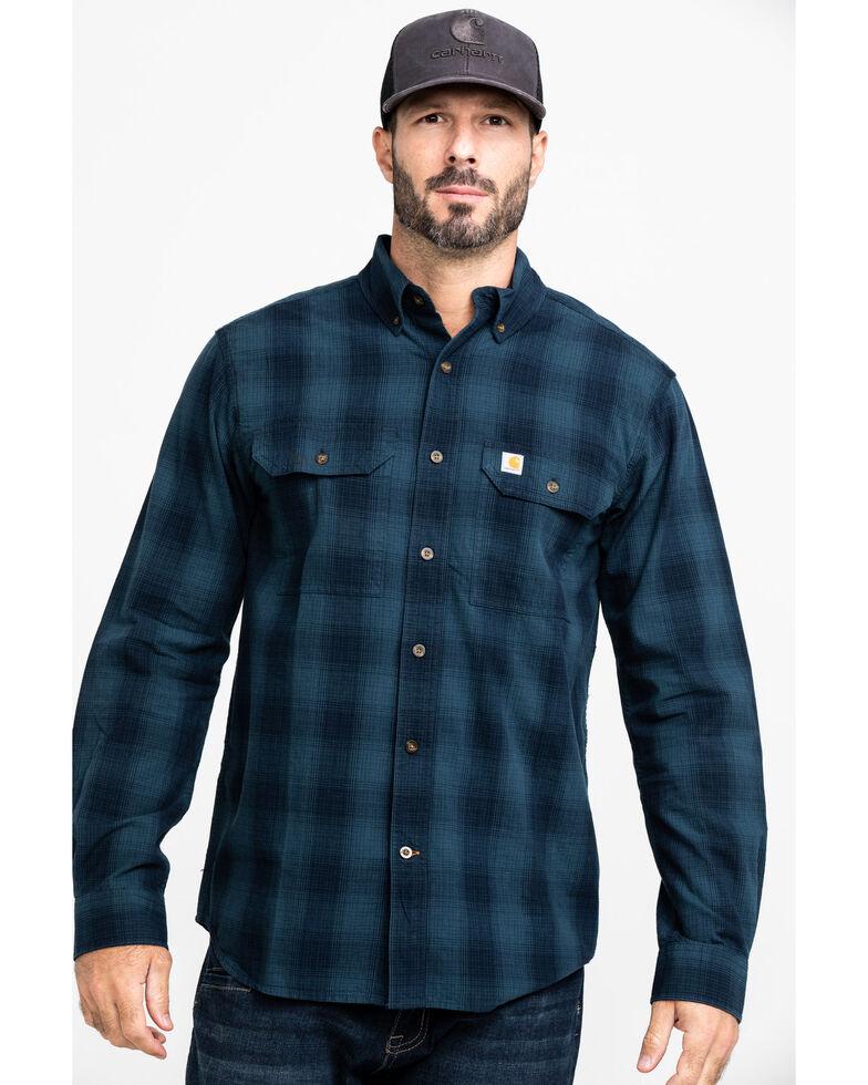 Carhartt Men's Fort Plaid Button Long Sleeve Work Shirt , Navy, hi-res