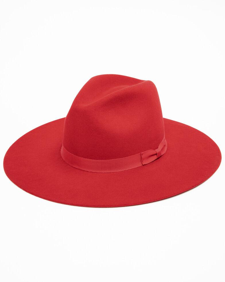 Rodeo King Women's 7X Tracker Pinch Front Fur Felt Hat , Red, hi-res
