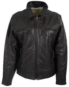 STS Ranchwear Boys' Black Turnback Leather Jacket, Black, hi-res