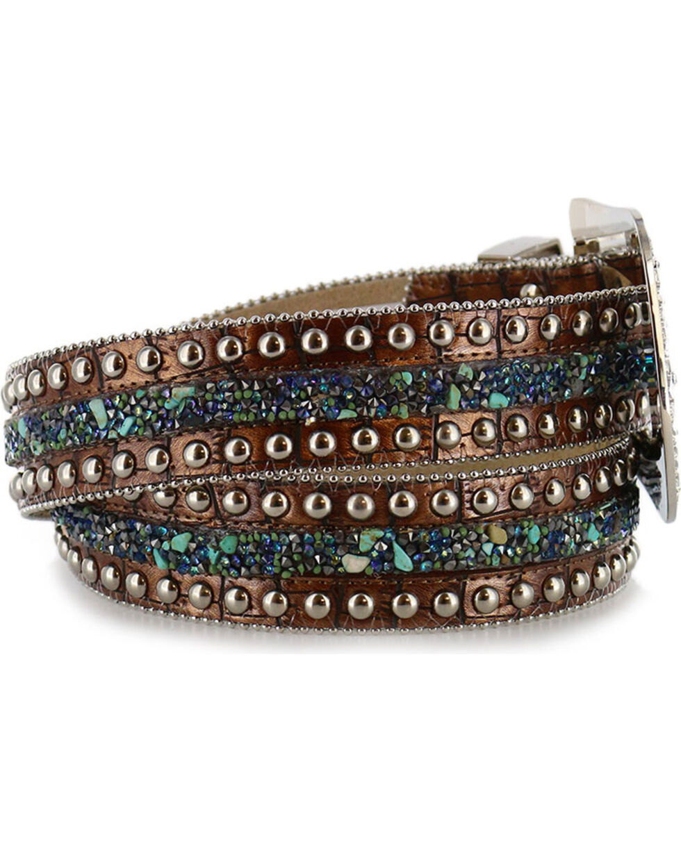 Angel Ranch Women's Stud & Stone Western Belt, Brown, hi-res